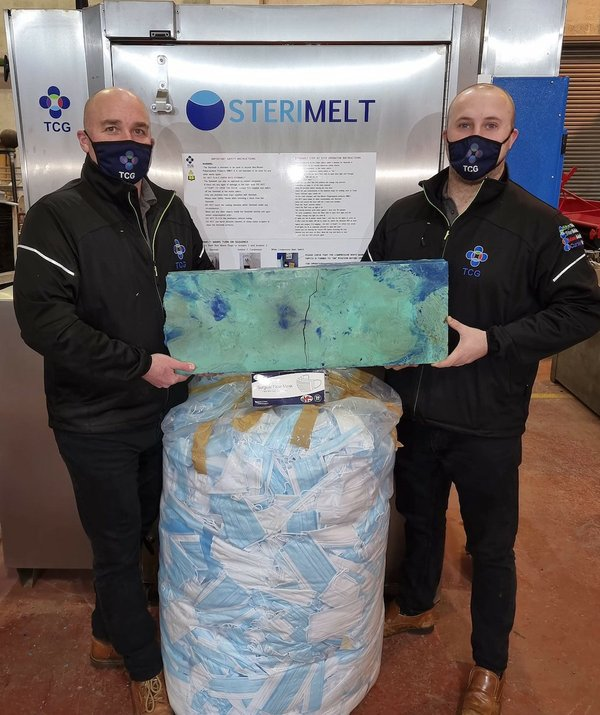 For illustrative purposes only. Bag shown approx 20KGS, Block shown is 20KGS.equal to approx 6,666 Hardshell masks.TCG(L-R) Mathew Rapson Thomas Davison-Serby.jpg